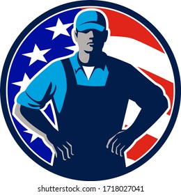 Illustration of an American organic farmer wearing hat and overalls with hands on hips akimbo and USA stars and stripes flag set in circle on isolated background done in retro style.