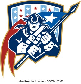Illustration of an American Patriot brandishing holding a flag set inside crest shield with USA stars and stripes on isolated white background.