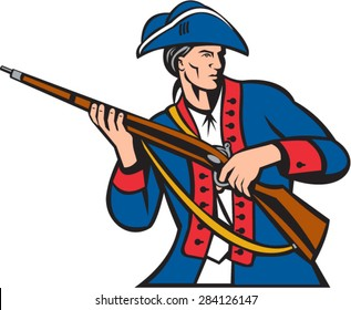 Illustration of an american patriot militia carrying musket looking to the side set on isolated white background done in retro style.