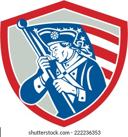 Illustration of an American Patriot revolutionary soldier waving USA stars and stripes flag looking to side set inside shield crest done in retro style