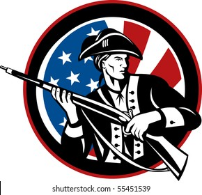 illustration of an American revolutionary soldier with rifle and flag in background set inside a circle