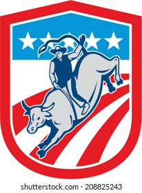 Illustration of an american rodeo cowboy riding bucking bull set inside shield crest with stars and stripes in the background done in retro style.
