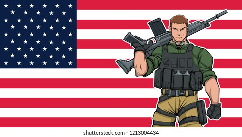 Illustration of American soldier with the flag of the United States of America in the background.