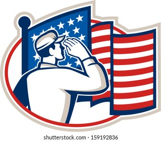 Illustration of an American soldier serviceman saluting USA stars and stripes flag viewed from rear set inside oval done in retro style.