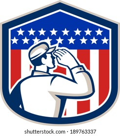 Illustration of an American soldier serviceman saluting USA stars and stripes flag viewed from rear set inside shield crest shape done in retro style.