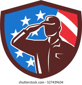 Illustration of an american soldier serviceman silhouette saluting set inside shield crest with usa flag stars and stripes in the background done in retro style.