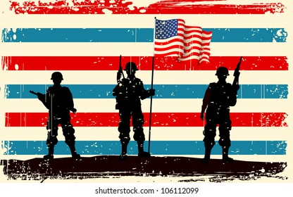illustration of American soldier standing with American flag