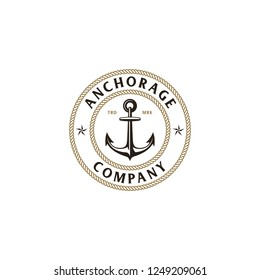 Illustration The Anchors Anchorage Logo Company in vintage circle ropes border badge designs vector with star sign symbols