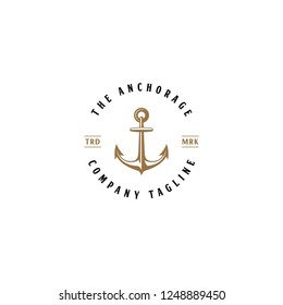 Illustration The Anchors Anchorage and Rope Logo Company in vintage circle  badge designs vector