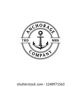 Illustration The Anchors Anchorage and Rope Logo Company in vintage circle ropes  badge designs vector black and white colors