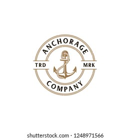Illustration The Anchors Anchorage and Rope Logo Company in vintage circle rope border badge designs vector with distressed rustic effects