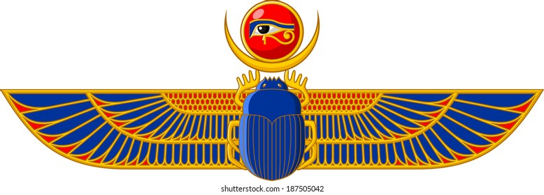 Illustration of ancient Egyptian Scarab with wings isolated on white background.