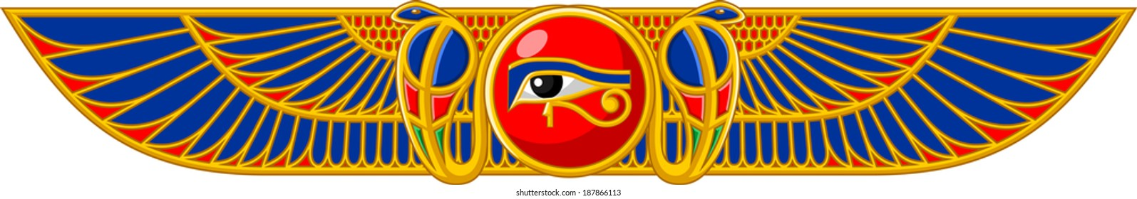 Illustration of ancient Egyptian sun with snakes and wings isolated on white background.