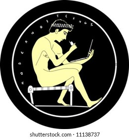 Illustration of an ancient greek youth with a laptop and cellphone