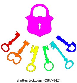 illustration with ancient keys and lock