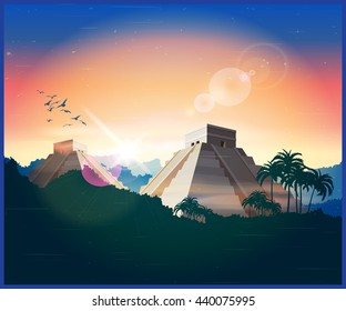 Illustration of ancient Mayan pyramids in the jungle