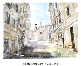Illustration of the ancient road leading to the Church. Watercolor.
