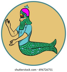 Illustration of an ancient Sumerian deity Dagon in a round frame. Colorful icon, cartoon style. Bearded legendary merman.