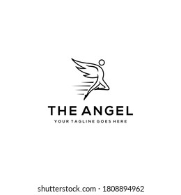 Illustration angel flying with wings  logo design template