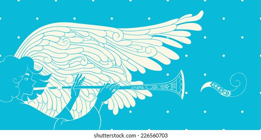 illustration. angel playing trumpet