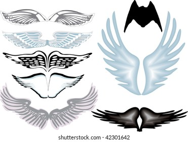 illustration with angel wings isolated on white background