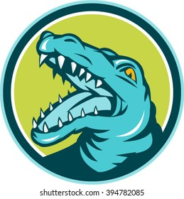 Illustration of an angry alligator crocodile head snout snapping viewed from the side set inside circle done in retro style on isolated background.