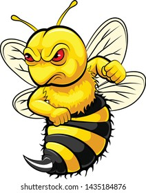 illustration of Angry bee mascot