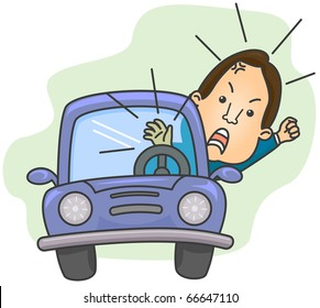 Illustration of an Angry Driver Shouting While Blowing His Car's Horn