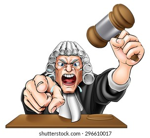 An illustration of an angry judge cartoon character shouting and pointing at the viewer