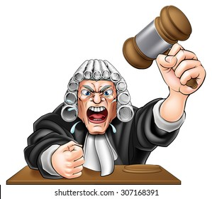 An illustration of an angry judge cartoon character with fist and wooden gavel