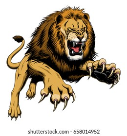 Illustration of angry leaping lion.
