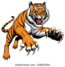 Illustration of angry leaping tiger.