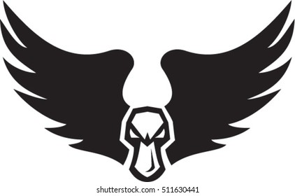 Illustration of an angry mallard duck head and wings set on isolated white background viewed from front done in retro style.