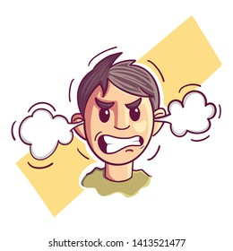 Illustration of an angry man. Emotional man in rage. Feeling anger. Emoticon, emoji. Simple style vector illustration - Vector