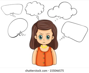 Illustration of an angry woman with empty callouts on a white background