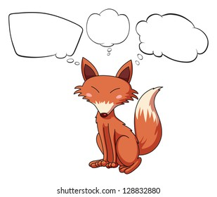 Illustration of an animal with blank thoughts on a white background