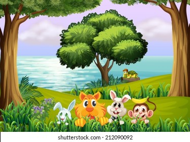 Illustration of the animals at the forest