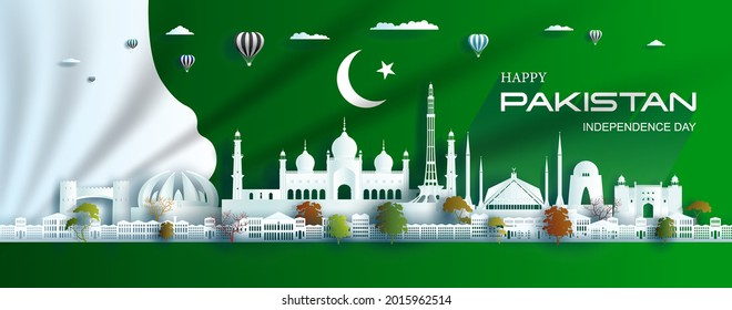 Illustration Anniversary celebration pakistan day with green flag background. Travel landmarks city architecture of pakistan in islamabad and lahore, paper art, paper cut style. Vector illustration