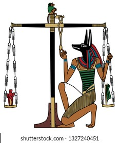 An illustration of Anubis' judgment depicted in ancient Egypt, the book of the dead.