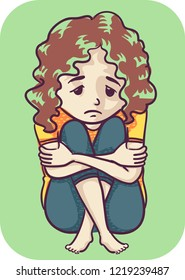 Illustration of an Anxious Kid Girl Sitting Down with Knees Up and Hands Hugging Her Legs