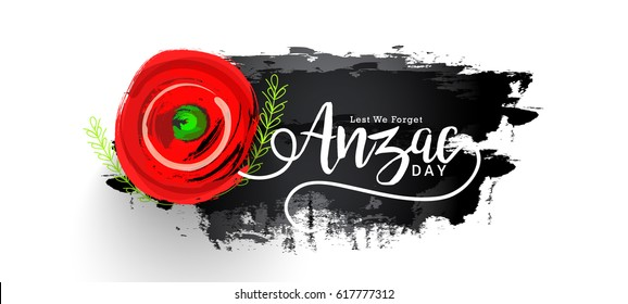 illustration Of Anzac Day With Poppy Flower Background.