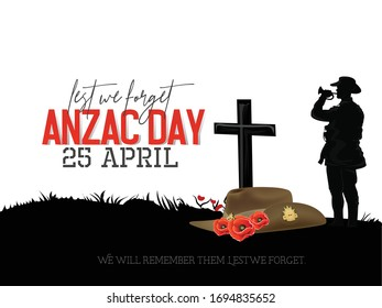 Illustration of Anzac Day Silhouette  of soldiers fighting in battle filed with a soldier blowing horn as a background and with poppies  flowers