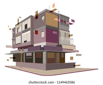 Illustration of an apartment building in 3D design. Geometric shapes extend the house borders. In vector format