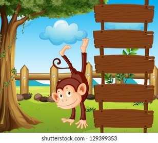 Illustration of an ape beside the empty wooden signboards