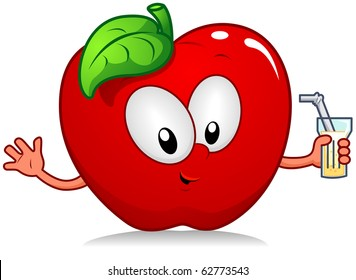 Illustration of an Apple Character Holding a Drink
