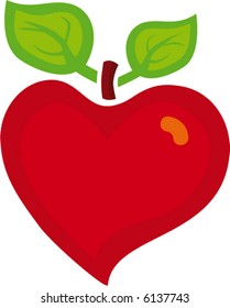 Illustration apple and heart to healthy