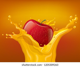 illustration of apple juice splash with falling red apple