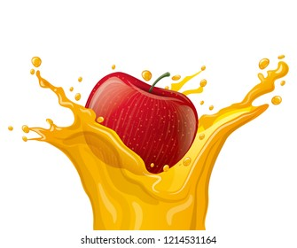 illustration of apple juice splash on the white background background