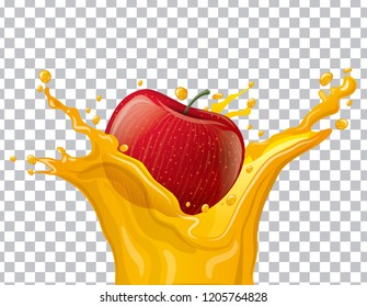 illustration of apple juice splash with transparent background
