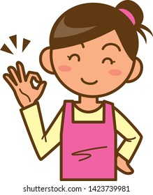 An illustration of an approving housewife. (Upper body)